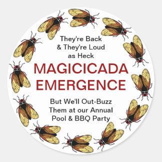 Customizable Cicada / Magicicada Emergence Party Classic Round Sticker