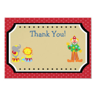 Customizable Circus Birthday Party Thank You 3.5x5 Paper Invitation Card
