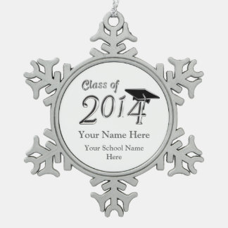 Customizable Class of 2014 Snowflake Pewter Christmas Ornament