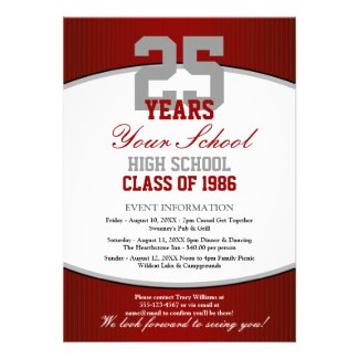 Customizable Class Reunion Personalized Invites