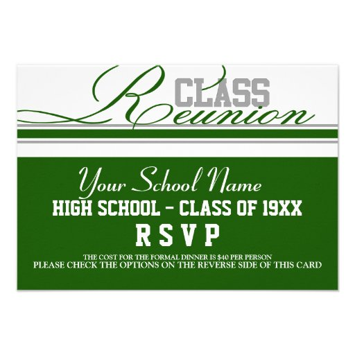 Customizable Class Reunion RSVP Personalized Invitations