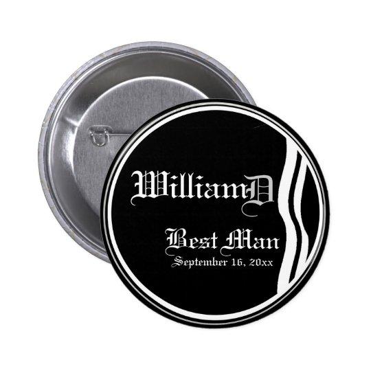 Customizable Classic Black White Best Man Button