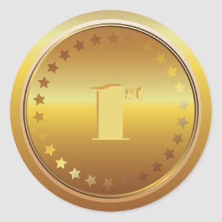 Customizable Classic Gold Medal. Number One. Classic Round Sticker