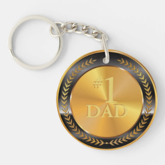 Customizable Classic Gold Medal. Number One Dad. Keychain