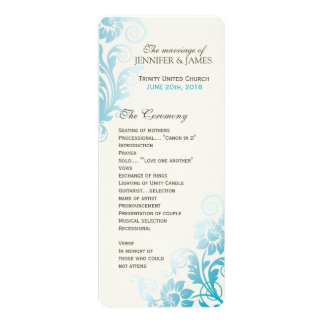 Customizable Classy Ombre Teal Wedding Program Card