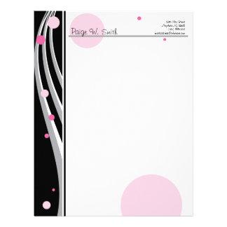 Customizable Classy Pink Black Grey letterhead
