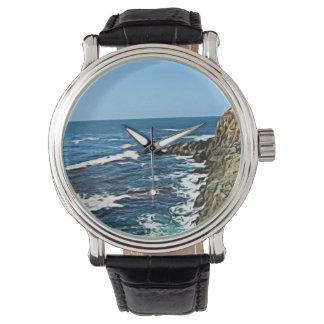 Customizable Coastal Photo Vintage Leather Watch