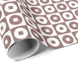 Customizable Cognac Brown/White Square-Circle Wrapping Paper