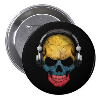 Customizable Colombian Dj Skull with Headphones Pins