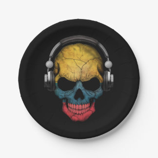 Customizable Colombian Dj Skull with Headphones Paper Plate