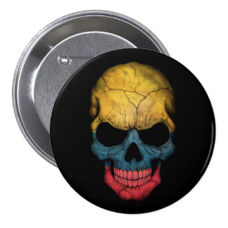 Customizable Colombian Flag Skull 3 Inch Round Button