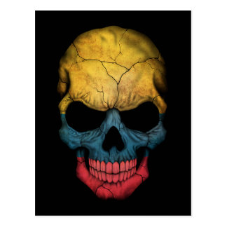 Customizable Colombian Flag Skull Postcard