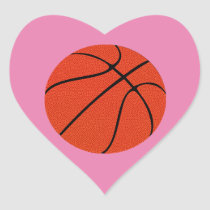 Customizable Color and Text Basketball Heart Sticker