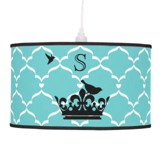 Customizable Color Birds and Crown Silhouette Hanging Lamp