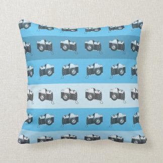CUSTOMIZABLE COLOR - Classic Camera - Blue Throw Pillow