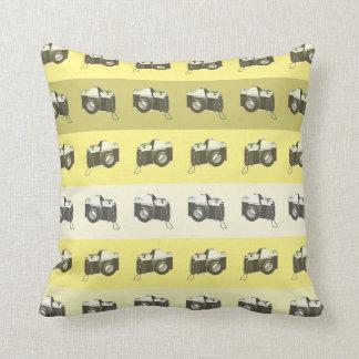 CUSTOMIZABLE COLOR - Classic Camera - Yellow Throw Pillow