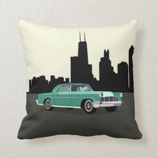 CUSTOMIZABLE COLOR - Classic Car Chicago Skyline Throw Pillow