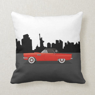 CUSTOMIZABLE COLOR - Classic Car New York Skyline Throw Pillow