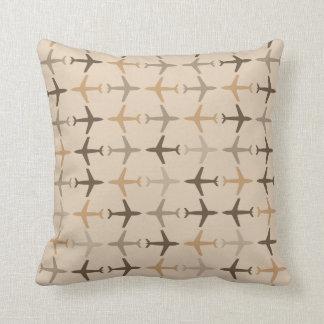 Customizable Color Monochromatic Planes - Brown Pillow