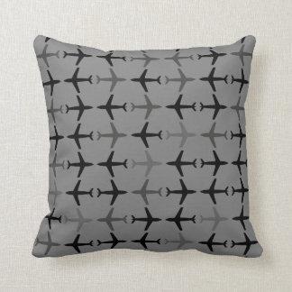 Customizable Color Monochromatic Planes - Grey Throw Pillow