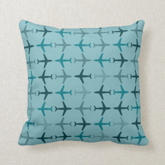 Customizable Color Monochromatic Planes - Teal Throw Pillow