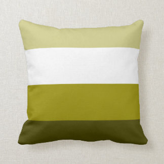 Customizable Color Monochromatic Stripes - Olive Throw Pillow
