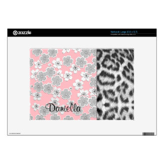 Customizable Color Personalized Leopard Floral Netbook Decals
