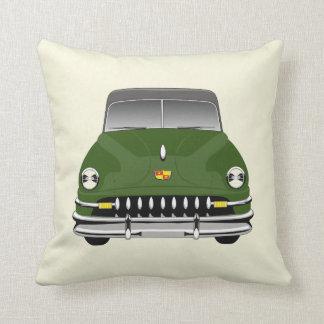 CUSTOMIZABLE COLOR - Retro Car 51 DeSoto - Green Throw Pillow