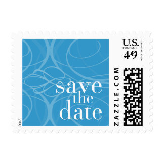 Customizable Color Save the Date Swirls Postage
