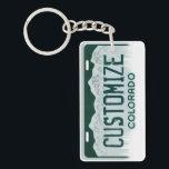 "Customizable Colorado license plate keychain<br><div class=""desc"">Customizable Colorado license plate keychain</div>"