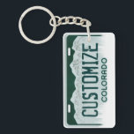 "Customizable Colorado license plate keychain<br><div class=""desc"">Customizable Colorado license plate keychain</div>"
