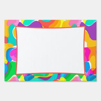 Customizable Colorful Abstract Art Lawn Signs