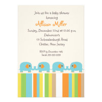 Customizable colorful elephant baby boy shower invite