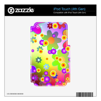 Customizable Colorful Groovy flower pattern Decal For iPod Touch 4G