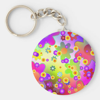 Customizable Colorful Groovy flower pattern Keychain