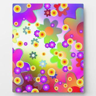 Customizable Colorful Groovy flower pattern Plaque