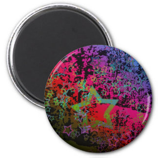 Customizable Colorful Grungy Star design 2 Inch Round Magnet