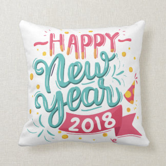 Customizable Colorful Happy New Year Throw Pillow