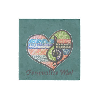 Customizable Colorful Music Lovers Heart Stone Magnet