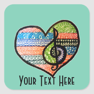 Customizable Colorful Music Lovers Heart Square Sticker