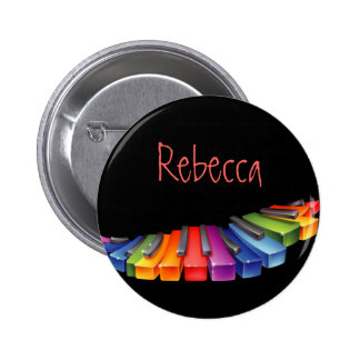 Customizable Colorful Piano Keys Pinback Button