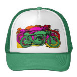 Customizable Colorful Pop Art Motorcycles Mesh Hats