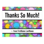 "[ Thumbnail: Customizable, Colorful ""Thanks So Much!"" Postcard ]"