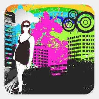 Customizable Colorful Urban/Grunge design Square Sticker