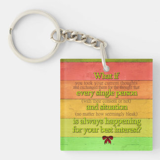 """Customizable Colorful """"What if...Best Interest"""" Keychain"""