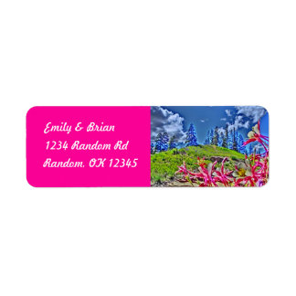 Customizable columbine flowers pink labels