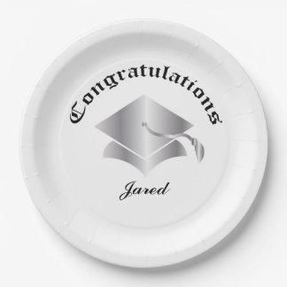 Customizable Congrats on Graduation Plates - Silv
