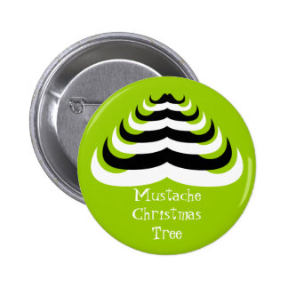 Customizable Cool and fun Mustache Christmas Tree 2 Inch Round Button