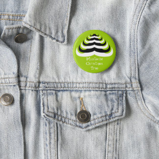 Customizable Cool and fun Mustache Christmas Tree Button