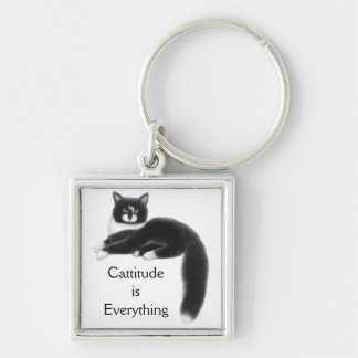 Customizable Cool Tuxedo Cat Keychain